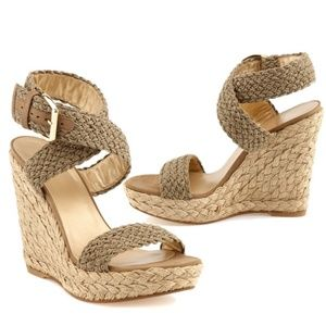 STUART WEITZMAN Alex Crochet Woven Wedge Sandals